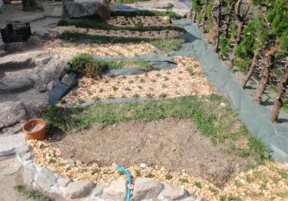 お庭の花壇(防草シート併用)