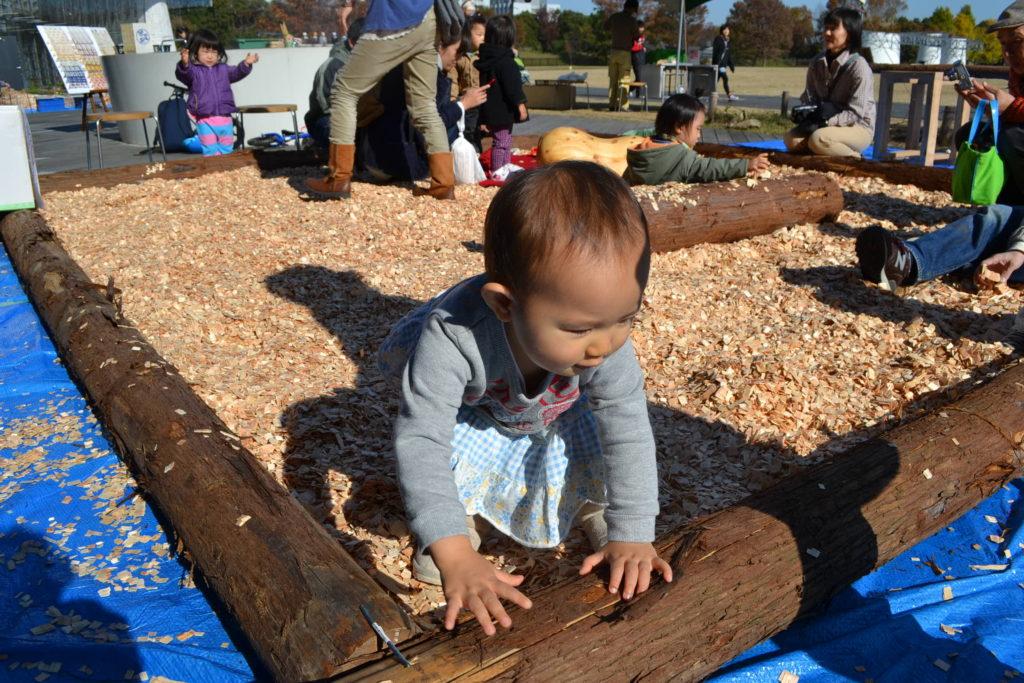 ウッドチッププールで遊ぶ赤ちゃん